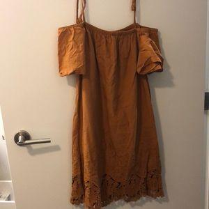Madewell Off The Shoulder Burnt Orange Dress